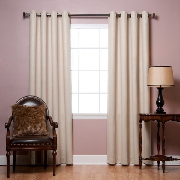 Aurora Home Faux-Leather Grommet Top 84-inch Insulated Curtain Panel Pair