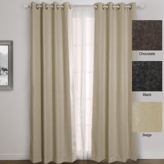 Faux Leather Grommet Top 84-inch Insulated Curtain Pair at Sears.com