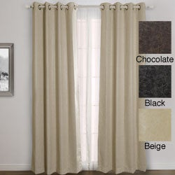 Faux Leather Grommet Top 84-inch Insulated Curtain Pair