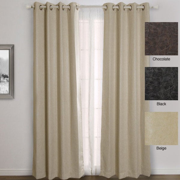Aurora Home Faux Leather Grommet Top 84-inch Insulated Curtain Pair