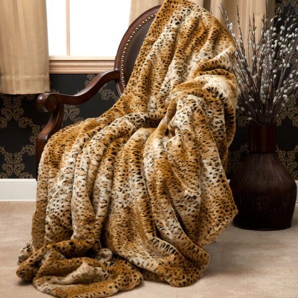 Oversize Cheetah Faux Fur Throw Blanket (60 in. x 84 in.)