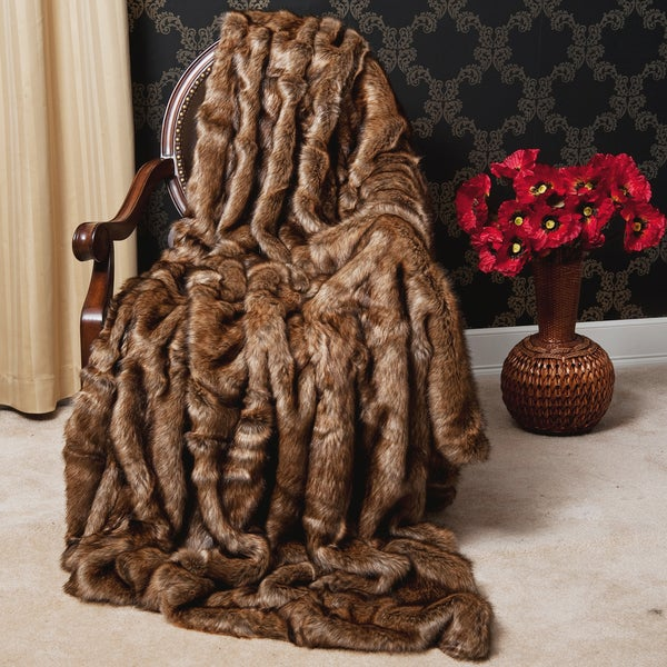 Aurora Home Oversize Faux Fur Coyote Throw Blanket