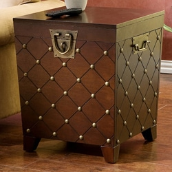 Nailhead Espresso End Table Trunk