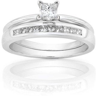 Annello 14k White Gold 1/2ct TDW Princess Diamond Bridal Set (H-I, I1-I2)