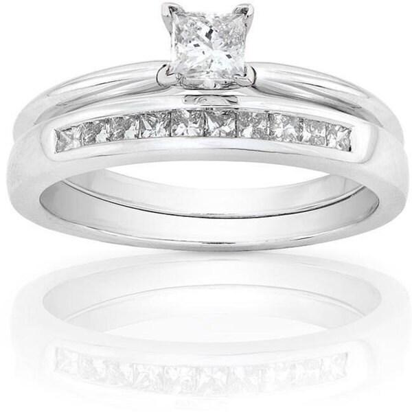Annello 14k White Gold 1/2ct TDW Princess Diamond Bridal Set (H-I, I1-I2)