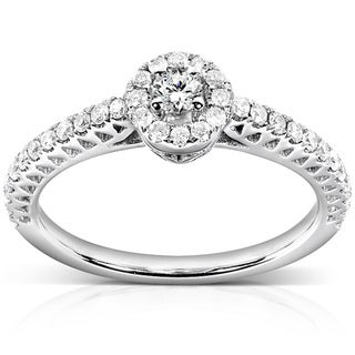 Annello 14k White Gold 1/4ct TDW Round Diamond Ring (H-I, I1-I2)