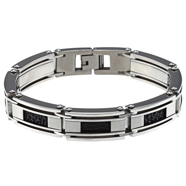 Stainless Steel Men's Textured Leather Bracelet