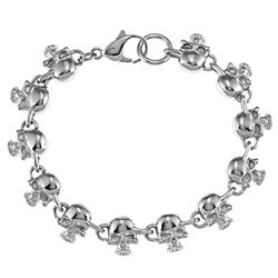 Stainless Steel Men's Skull Link Bracelet