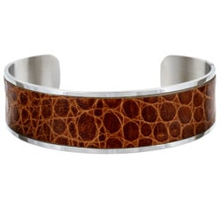 Stainless Steel and Leather Cuff Bracelet