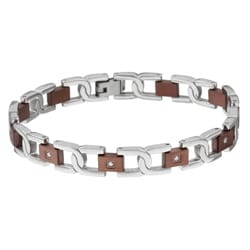 Stainless Steel Men's 1/6ct TDW Diamond Link Bracelet