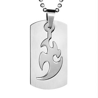Stainless Steel Two-piece Laser-cut Dog Tag Necklace