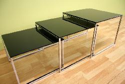 Black Glass Tabletop Nesting Tables (Set of 3)