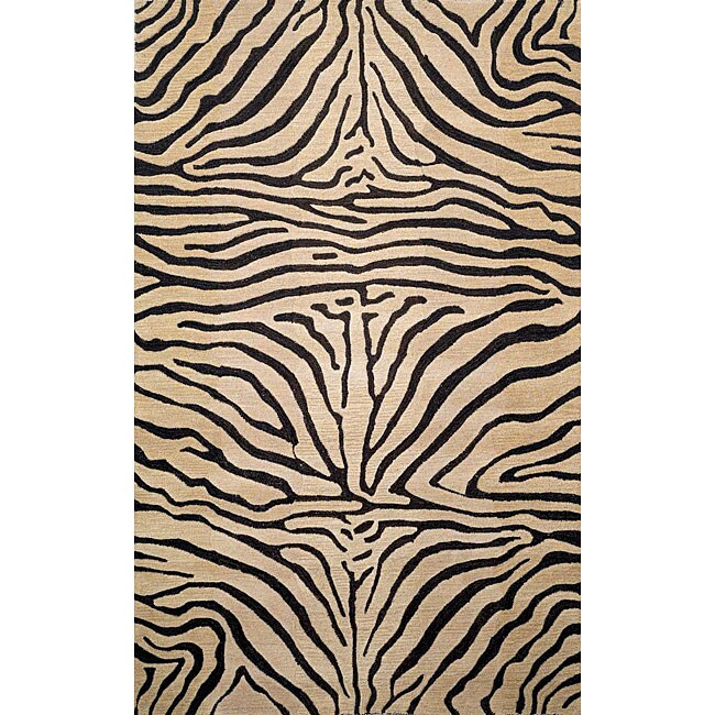 Safari Zebra Black Wool Rug (5' x 8')