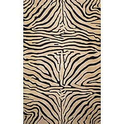Safari Zebra Black Wool Rug (5' x 8')