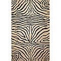 Safari Zebra Black Wool Rug (2'3 x 8')