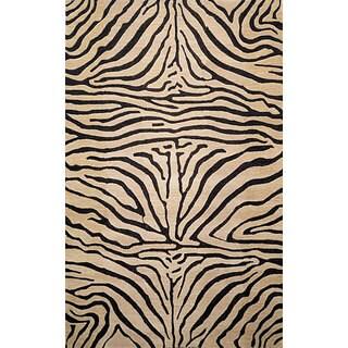 Liora Manne Safari Zebra Black Wool Rug (3'6 x 5'6)