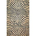 Safari Zebra Black Wool Rug (3'6 x 5'6)