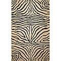 Safari Zebra Black Wool Rug (3'6 x 5'6)