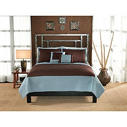 Barclay Cocoa and Aqua Hotel 3-piece Quilt Set