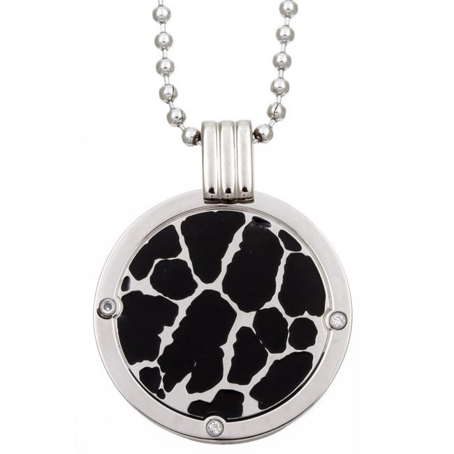 Men's Titanium Two-tone Diamond Necklace