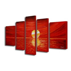 'Beach Sunrise' Hand-painted Oil Painting Art Set