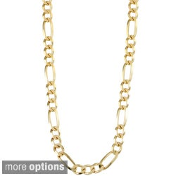 Sterling Essentials 14K Gold over Silver 6mm Figaro Chain (20-24 inches)