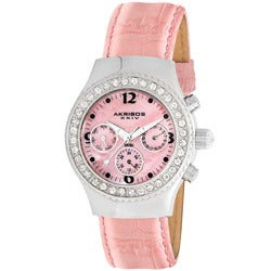 Akribos XXIV Women's Austrian Crystal Pink Multifunction Quartz Watch