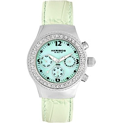 Akribos XXIV Women's Austrian Crystal Green Multifunction Quartz Watch