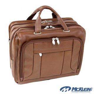 McKlein River West 17-inch Leather Laptop Case with Telescopic Handle