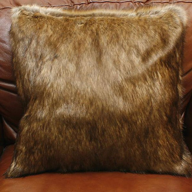 Aurora Home Coyote Faux Fur Pillows (Set of 2)