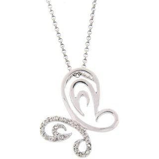 Finesque Sterling Silver 1/5ct TDW Diamond Butterfly Necklace (J-K, I3)
