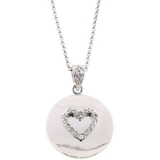 Finesque Sterling Silver 1/6ct TDW Diamond Heart Medallion Necklace