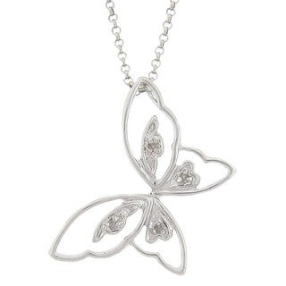 Finesque Sterling Silver Diamond Accent Butterfly Necklace