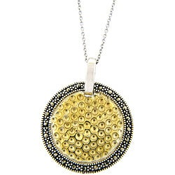 Dolce Giavonna Sterling Silver Two-tone Marcasite Medallion Necklace