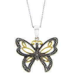 Dolce Giavonna Two-tone Goldplated Silver Marcasite Butterfly Necklace