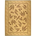 Indoor/ Outdoor Ferns Natural/ Brown Rug (7'10 x 11')