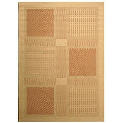 Indoor/ Outdoor Lakeview Natural/ Terrocatta Rug (5'3 x 7'7)