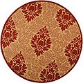 Indoor/ Outdoor St. Barts Natural/ Red Rug (6'7 Round)