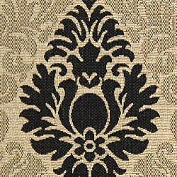 Indoor/ Outdoor St. Barts Sand/ Black Rug (5'3 x 7'7)