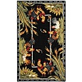 Safavieh Hand-hooked Roosters Black Wool Rug (2'9 x 4'9)