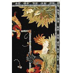 Hand-hooked Roosters Black Wool Rug (3'9 x 5'9)