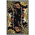 Safavieh Hand-hooked Roosters Black Wool Rug (5'3 x 8'3)