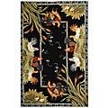 Safavieh Hand-hooked Roosters Black Wool Rug (6' x 9')