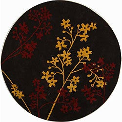 Handmade Soho Autumn Brown New Zealand Wool Rug (6' Round)