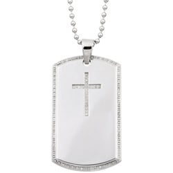 Stainless Steel 1/3ct TDW Diamond Cross Dog Tag Necklace (H, I2)
