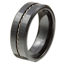 Ceramic Twisted Silver Wire Insert Band (8 mm)