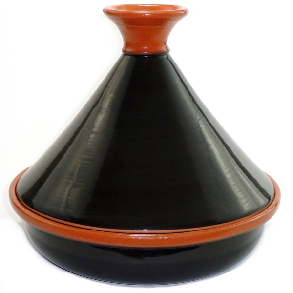 Hand-painted 12-inch Black Cookable Tagine (Tunisia)