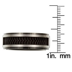 Men's Two-tone Titanium Rubber Inlay Band