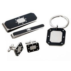 Stainless Steel Men's Enamel and Cubic Zirconia Jewelry Set