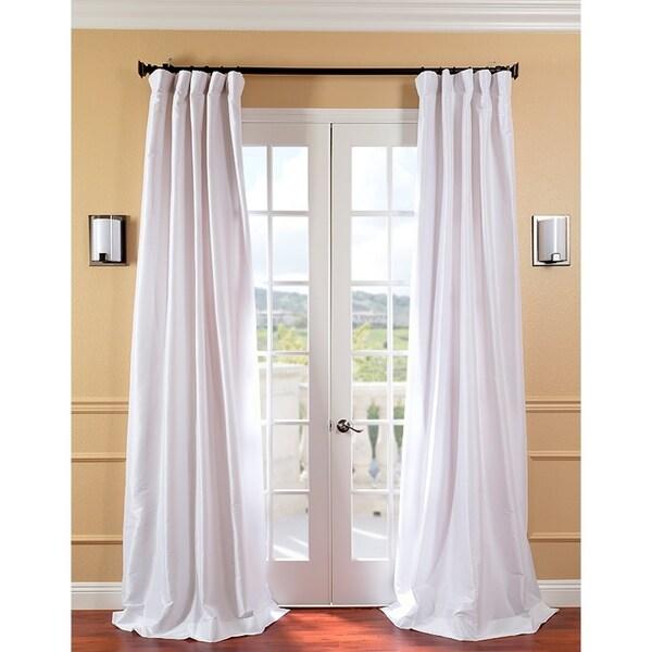 Exclusive Fabrics Signature White Faux Silk 96-inch Curtain Panel